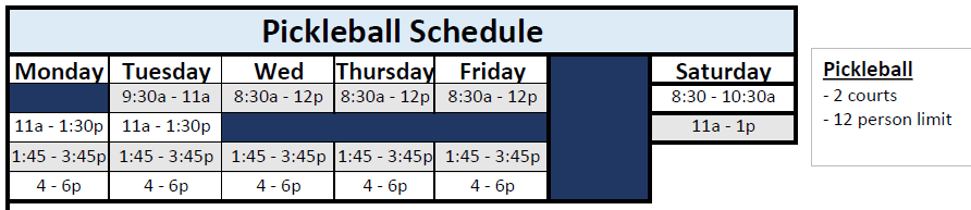 phase 1 pickleball schedule