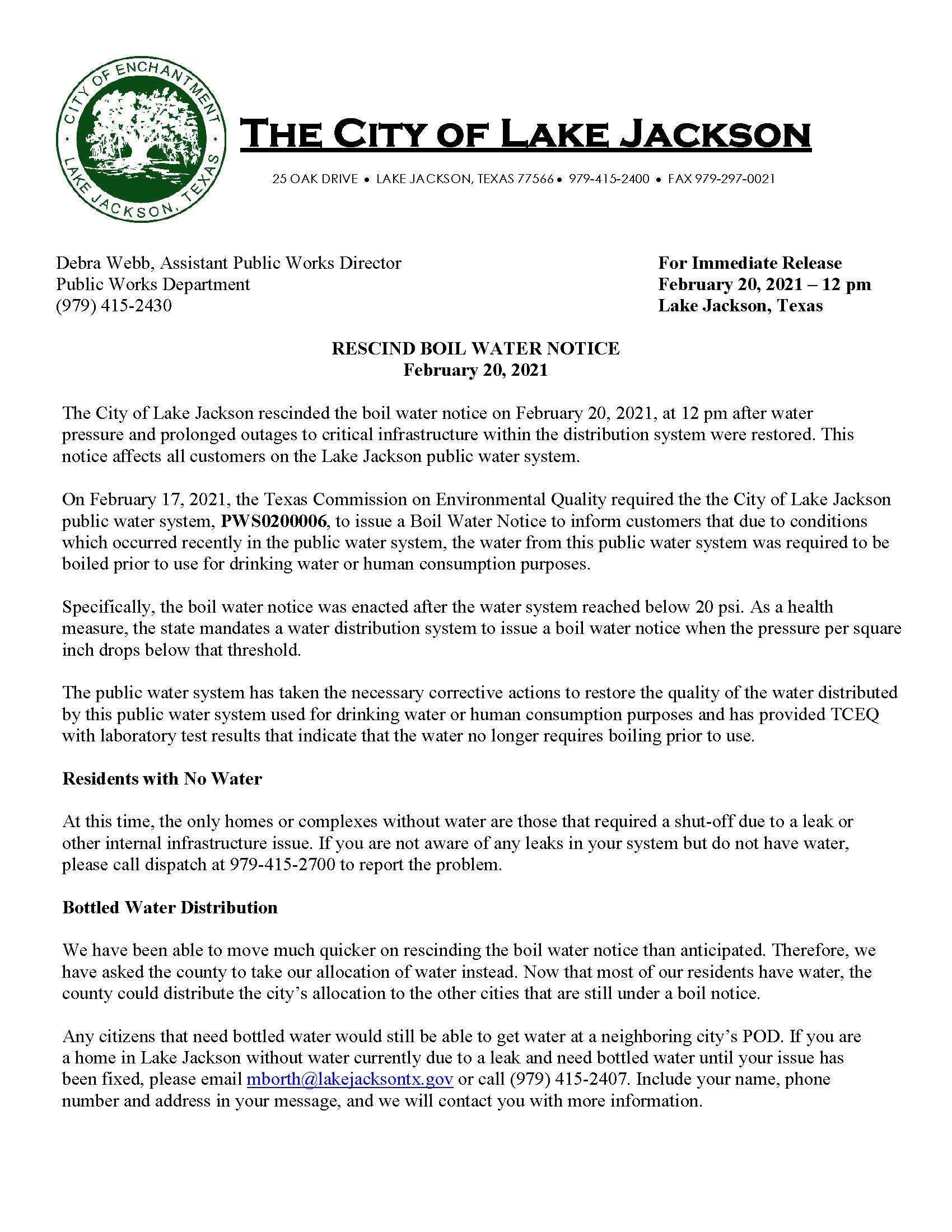 RESCIND Boil Water Notice